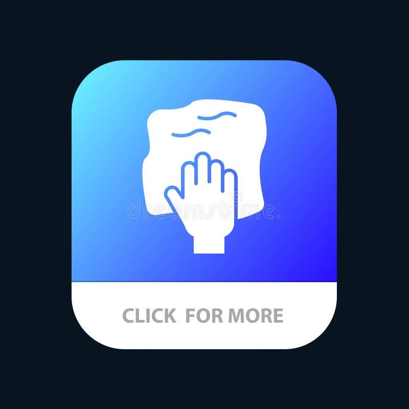 Le nettoyage, main, les travaux domestiques, bande de frottement, frottent le bouton mobile d'appli Android et version de Glyph d illustration libre de droits