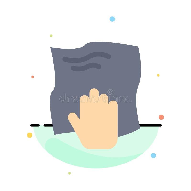 Le nettoyage, main, les travaux domestiques, bande de frottement, frottent le calibre plat abstrait d'icône de couleur illustration libre de droits