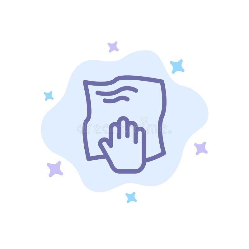 Le nettoyage, main, les travaux domestiques, bande de frottement, frottent l'icône bleue sur le fond abstrait de nuage illustration stock