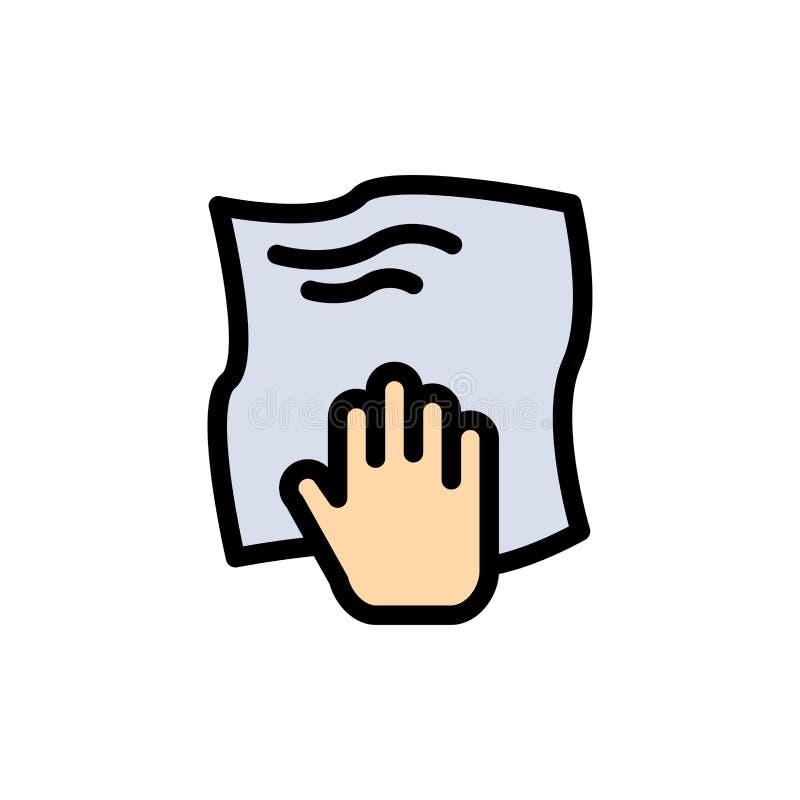 Le nettoyage, main, les travaux domestiques, bande de frottement, frottent l'icône plate de couleur Calibre de bannière d'icône d illustration libre de droits