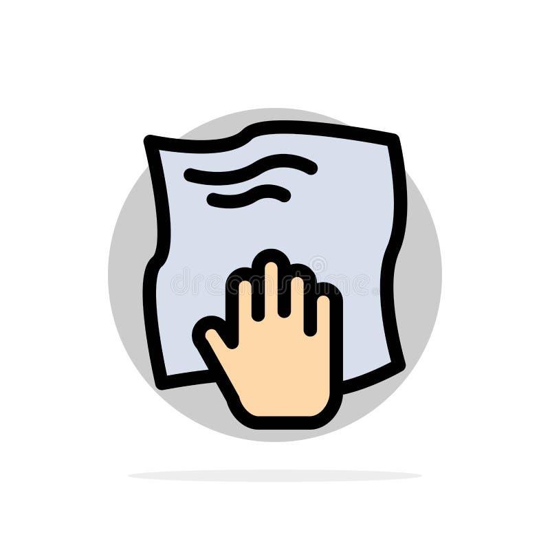 Le nettoyage, main, les travaux domestiques, bande de frottement, frottent l'icône plate de couleur de fond abstrait de cercle illustration libre de droits