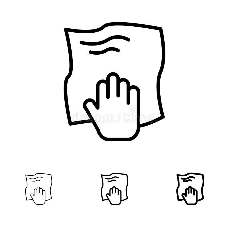Le nettoyage, main, les travaux domestiques, bande de frottement, frottent la ligne noire audacieuse et mince ensemble d'icône illustration libre de droits