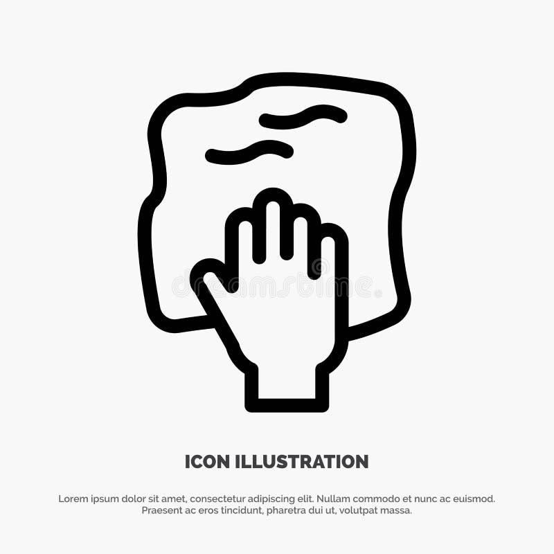 Le nettoyage, main, les travaux domestiques, bande de frottement, frottent la ligne vecteur d'icône illustration de vecteur