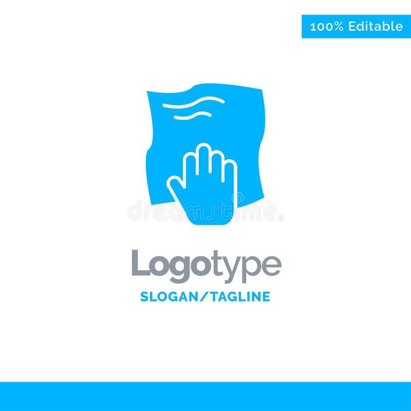 Le nettoyage, main, les travaux domestiques, bande de frottement, frottent Logo Template solide bleu Endroit pour le Tagline illustration stock