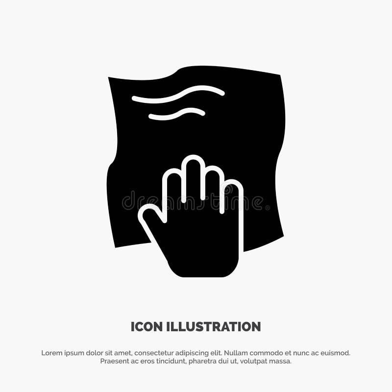 Le nettoyage, main, les travaux domestiques, bande de frottement, frottent le vecteur solide d'icône de Glyph illustration stock