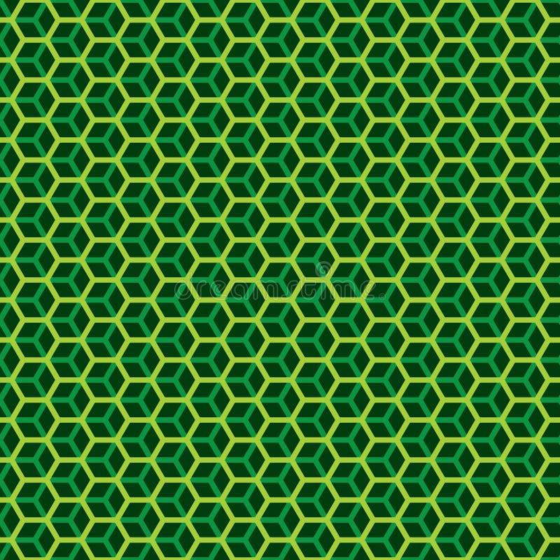 Le nid d'abeilles hexagonal sans couture a posé le fond géométrique de texture de modèle de cube illustration stock