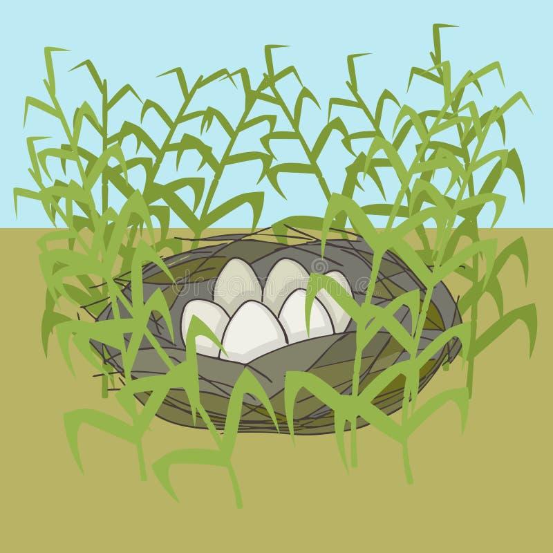 Le nid du ` s d'oiseau avec des oeufs dirigent la bande dessinée illustration libre de droits