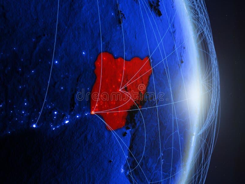Le Nigéria sur la terre numérique bleue bleue photo libre de droits