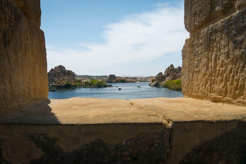 Le Nil du temple de Philae photographie stock