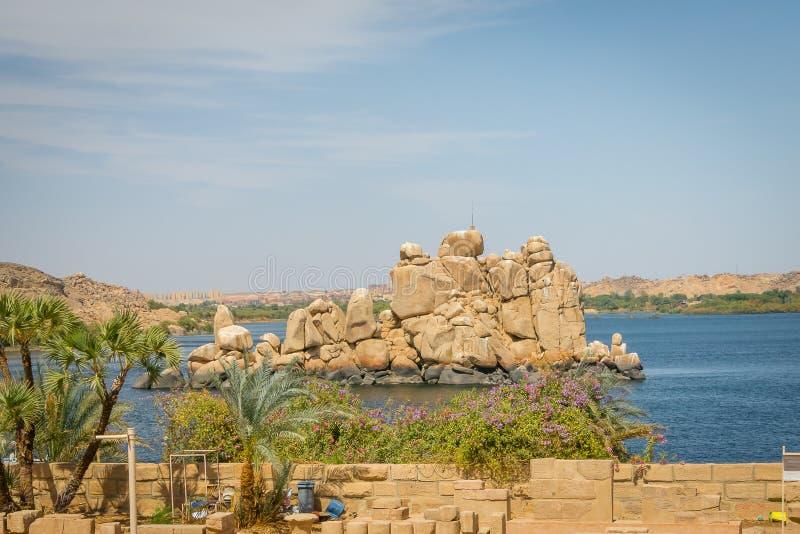 Le Nil du temple de Philae photos stock