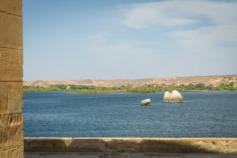 Le Nil du temple de Philae image stock