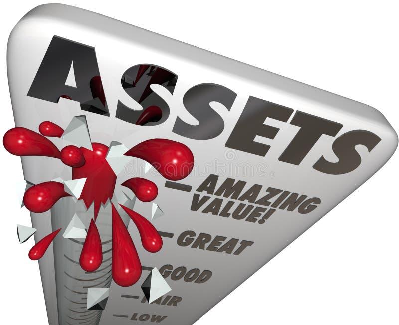 Le niveau de valeur de thermomètre de capitaux exprime l'augmentation de richesse de mesure illustration de vecteur