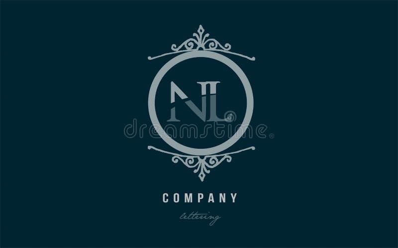 Le Nl N L Combinaison Decorative Bleue De Logo De Lettre D Alphabet De Monogramme Illustration Stock Illustration Du Monogramme Combinaison 105784857