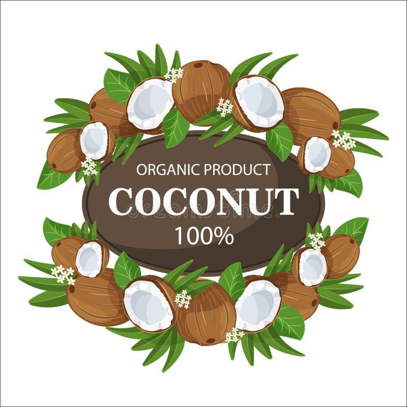 Le noci di cocco e le foglie di palma mature intorno al cerchio badge con per cento freschi dell'azienda agricola del testo i 100 illustrazione di stock
