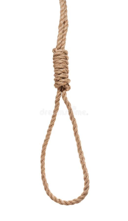 le noeud coulant du bourreau de la corde épaisse de jute d'isolement photo stock