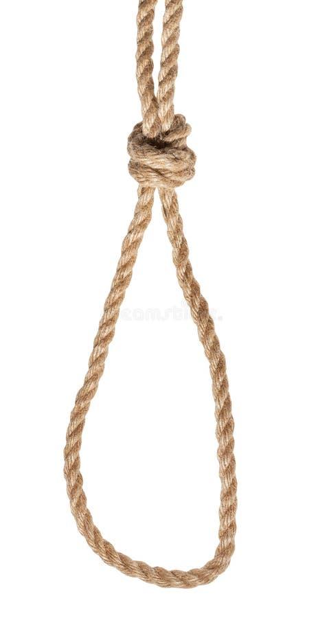 le noeud du braconnier attaché sur la corde épaisse de jute d'isolement photographie stock libre de droits
