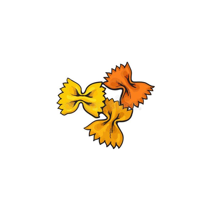 Le noeud papillon cru, papillon a formé les pâtes italiennes illustration libre de droits