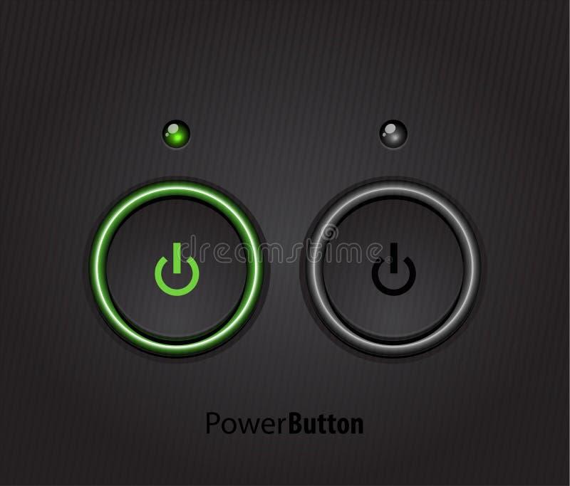 Le noir a abouti le bouton léger de pouvoir illustration stock
