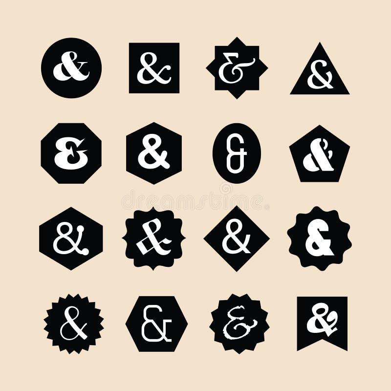 Le noir a assorti les emblèmes géométriques de formes réglés avec l'ensemble différent blanc d'icônes de polices d'esperluète illustration stock