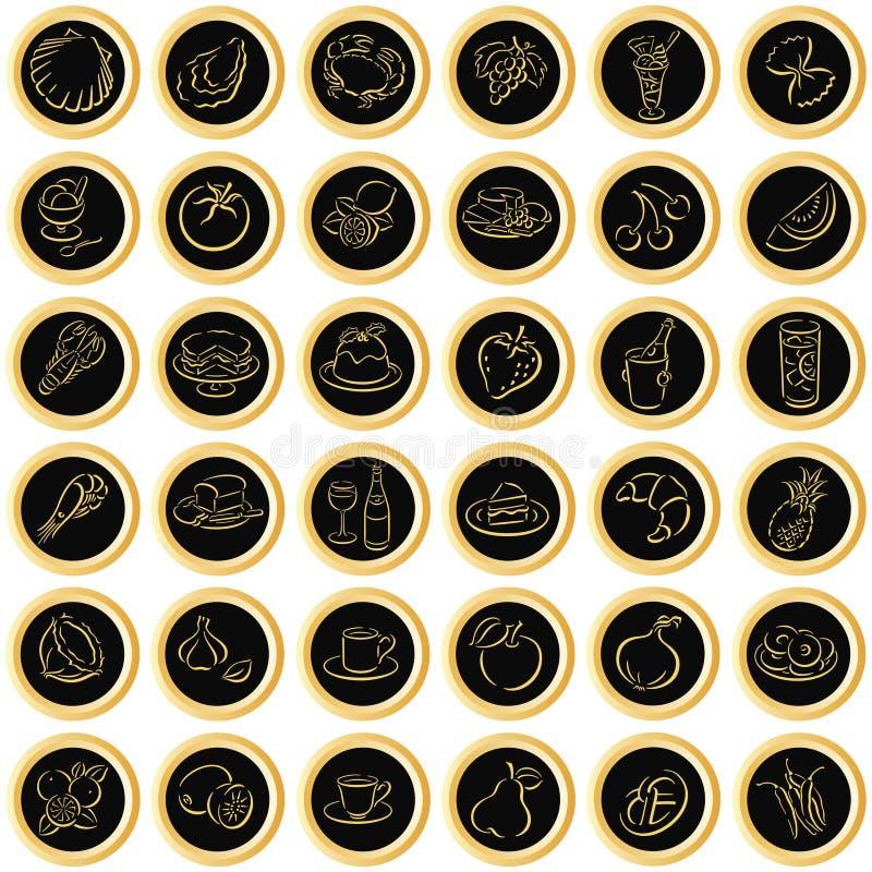 le noir boutonne des symboles de nourriture illustration libre de droits