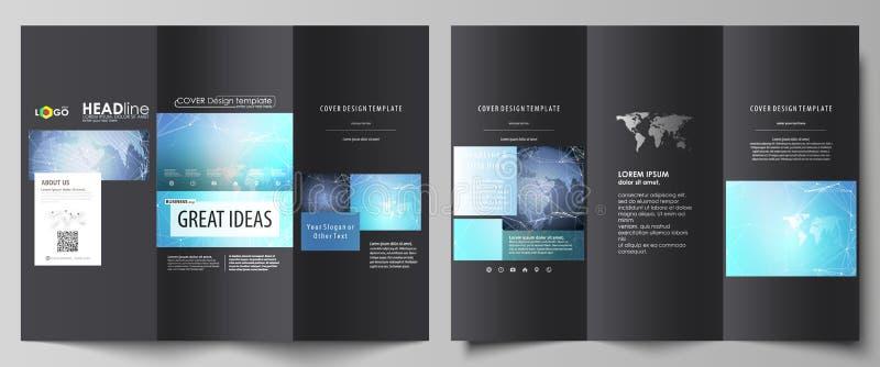 Le noir a coloré l'illustration minimalistic de vecteur de la disposition editable de deux couvertures triples créatives de broch illustration libre de droits
