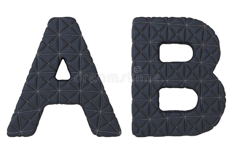 Le noir de luxe a piqué les lettres en cuir de la police A B illustration de vecteur