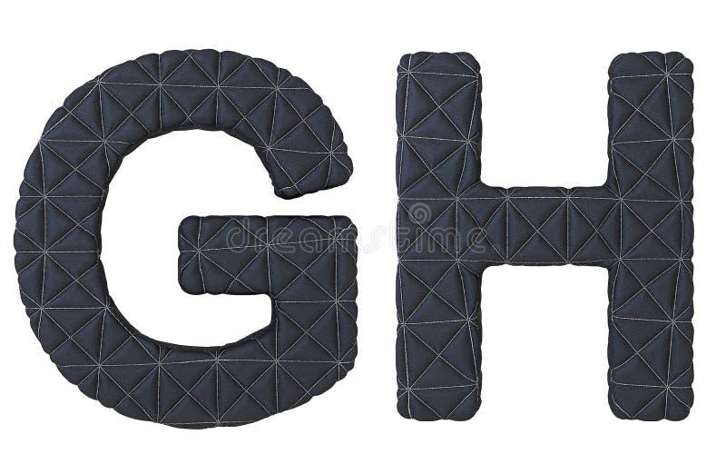 Le noir de luxe a piqué les lettres en cuir de la police G H illustration de vecteur