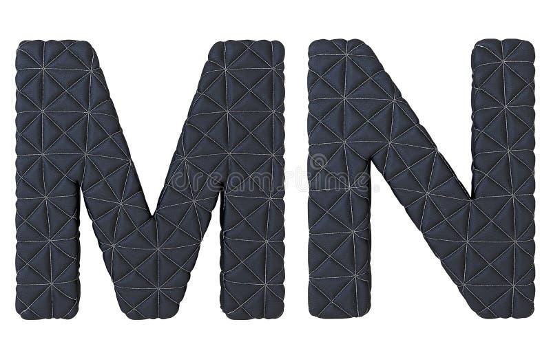 Le noir de luxe a piqué les lettres en cuir de la police M N illustration de vecteur