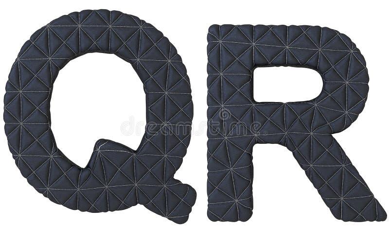 Le noir de luxe a piqué les lettres en cuir de la police Q R illustration stock