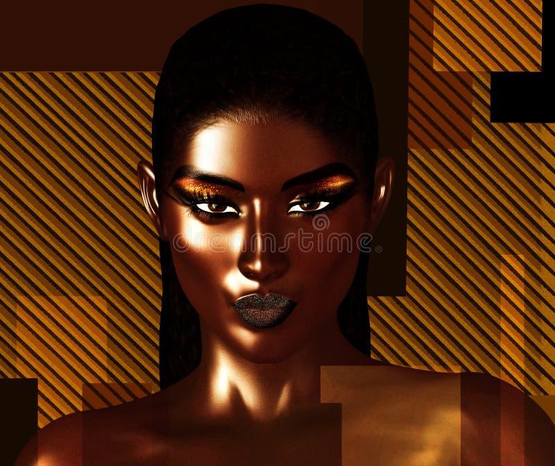 Le noir est beau ! Un visage étroit renversant d'une belle femme de couleur dans un art 3d numérique réaliste rendent le format photo libre de droits