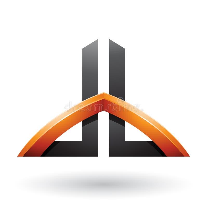 Le noir et l'orange ont jeté un pont sur les lettres comme un gratte-ciel de D et de B d'isolement sur un fond blanc illustration stock