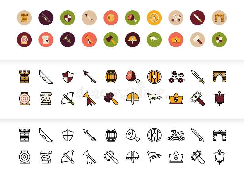 Le noir et la couleur décrivent des icônes, ligne mince conception de course de style illustration de vecteur