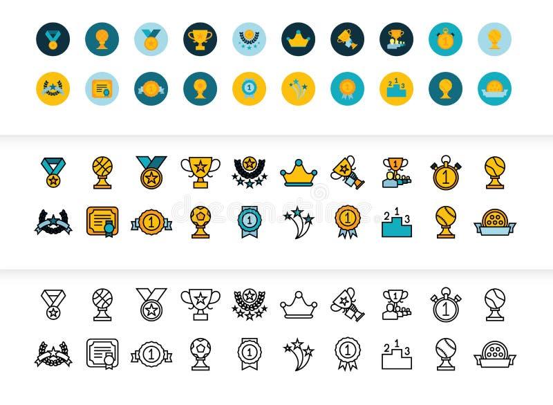 Le noir et la couleur décrivent des icônes, ligne mince conception de course de style illustration stock