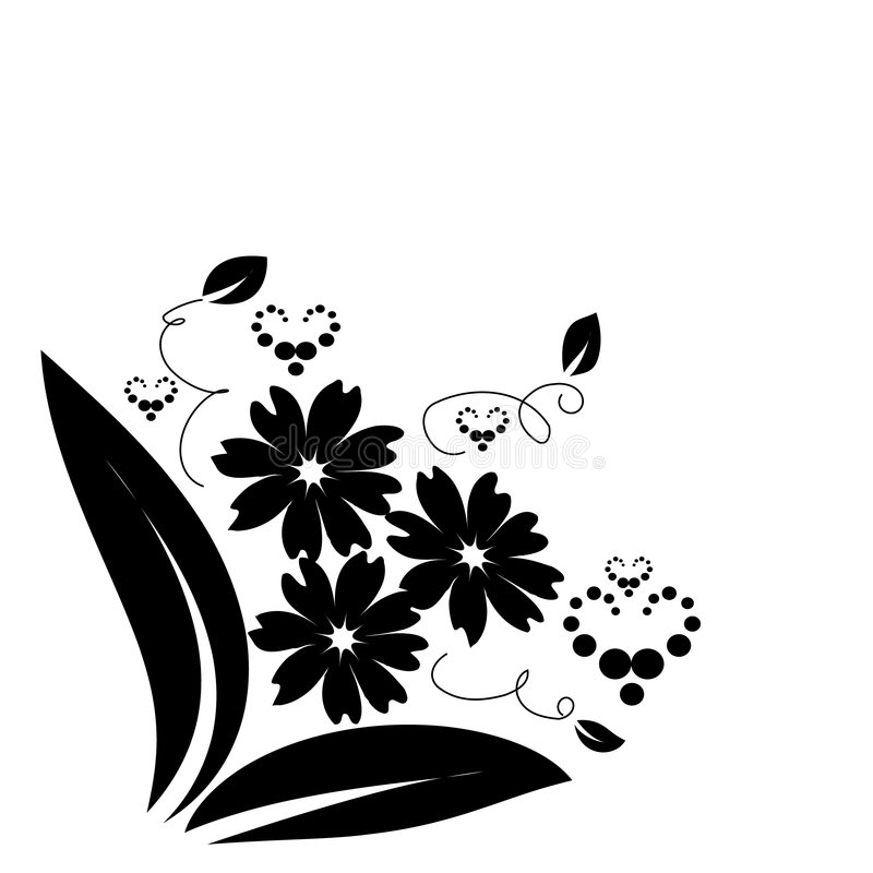 le noir fleurit des coeurs illustration libre de droits