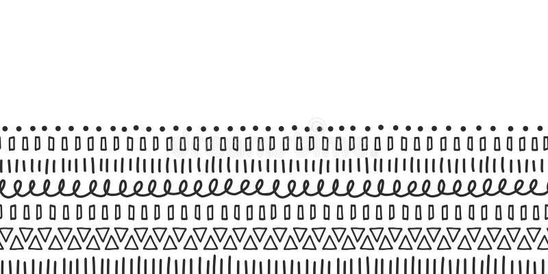Le noir gribouille la frontière sans couture de vecteur Motifs ethniques et tribals Courses tirées par la main de griffonnage, li illustration stock
