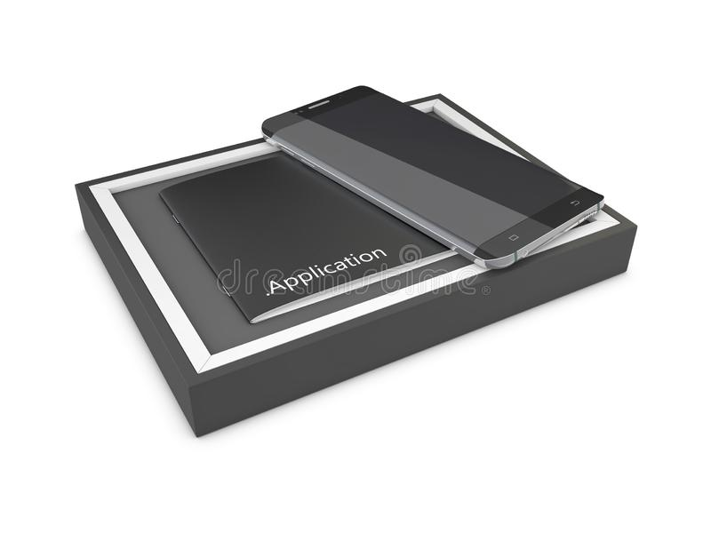 Le noir a ouvert la boîte rectangulaire avec le téléphone portable noir sur le fond blanc, le rendu 3d illustration stock