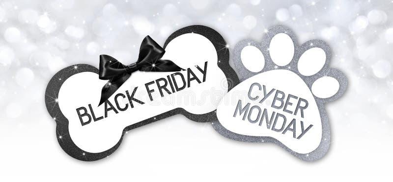 Le noir vendredi de magasin de bêtes et le texte de vente de lundi de cyberg écrivent sur le cadeau illustration libre de droits