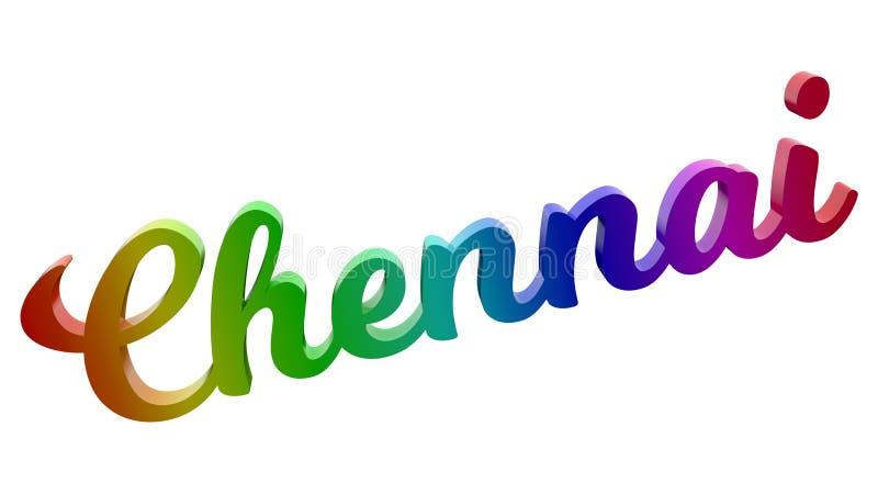 Le nom 3D calligraphique de ville de Chennai a rendu l'illustration des textes colorée avec le gradient d'arc-en-ciel de RVB illustration de vecteur