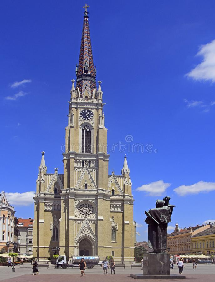 Le nom de Mary Church est cathédrale de catholique de Novi Sad image stock