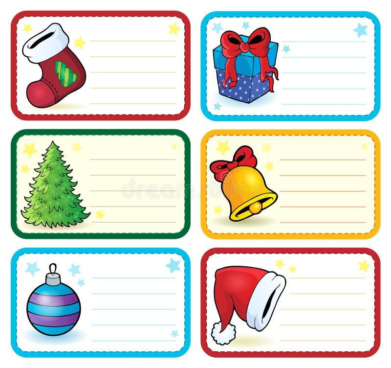 Le nom de Noël étiquette la collection 4 illustration stock