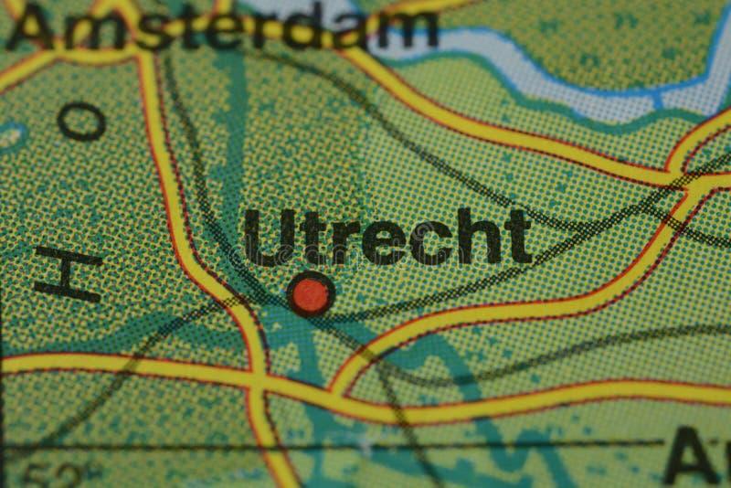 Le nom UTRECHT de ville sur la carte photo libre de droits