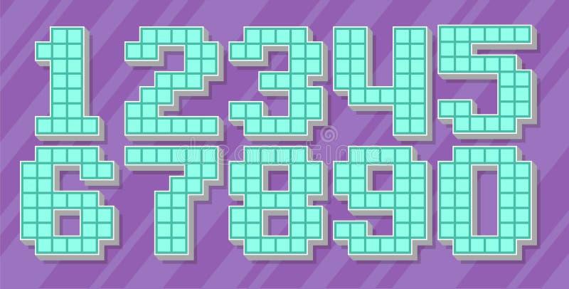 Le nombre bleu de pixel de vecteur a placé sur le fond violet illustration de vecteur