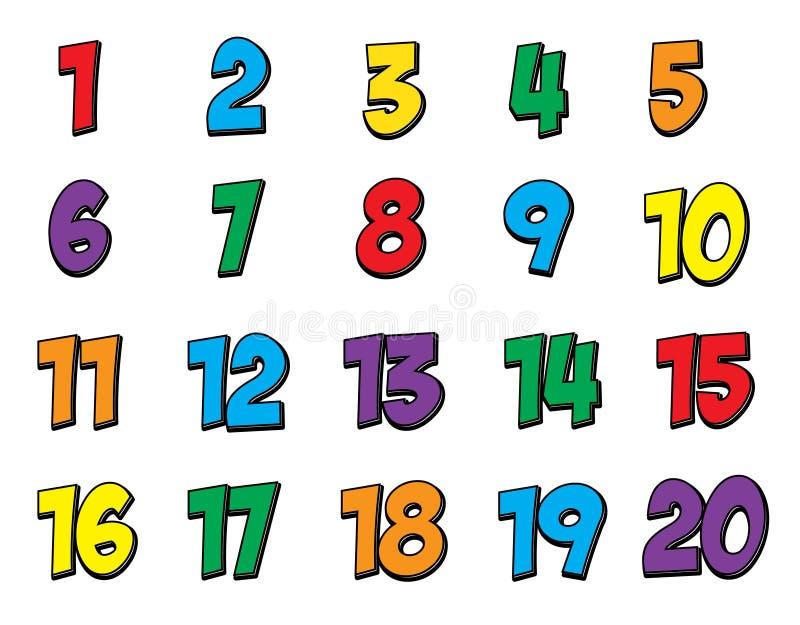 Le nombre coloré a placé 1-20 illustration libre de droits