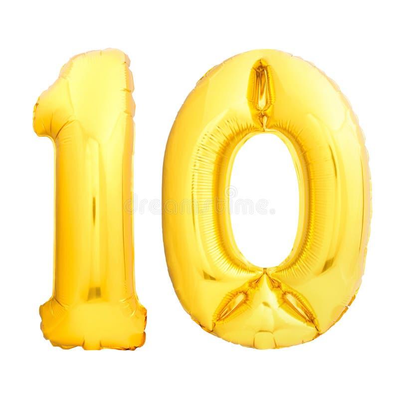 Le nombre d'or 10 dix a fait du ballon gonflable d'isolement sur le blanc photographie stock