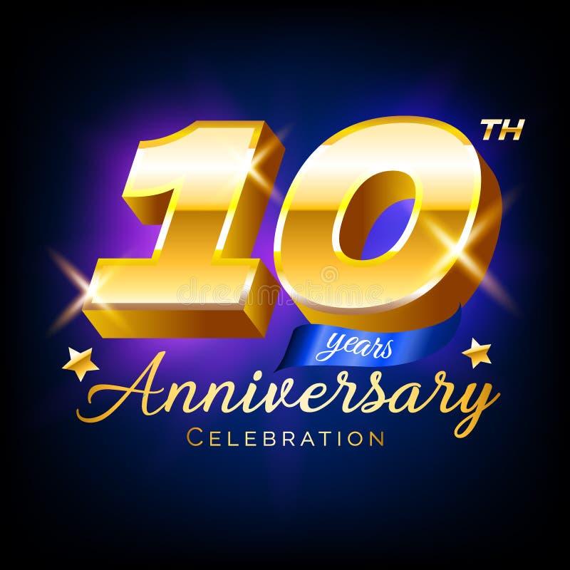 Le nombre de célébration d'anniversaire de l'or 10, logo, l'emblème, calibre de conception pour l'affiche, bannière, illustration illustration libre de droits