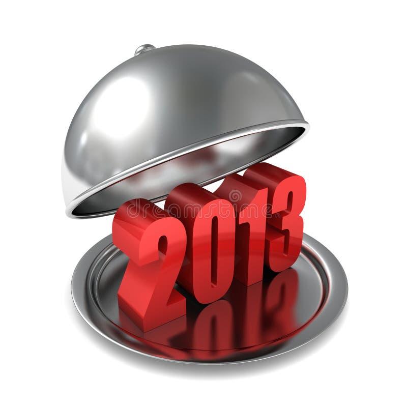 le nombre rouge de 2013 ans se connectent le plateau argenté ouvert illustration stock