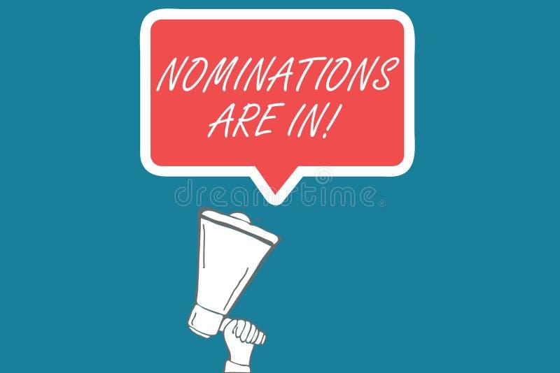 Le nomine del testo della scrittura sono dentro Concetto che significa formalmente scelta del qualcuno candidato ufficiale per un illustrazione di stock
