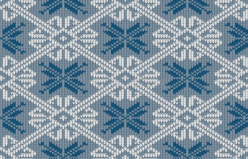 Le Norvégien a tricoté le modèle avec des flocons de neige dans la couleur de bleu de vintage illustration libre de droits