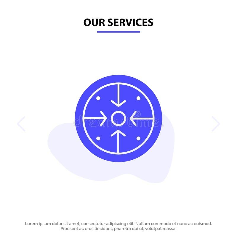 Le nostre fasi di servizi, scopi, implementazione, operazione, modello solido della carta di web dell'icona di glifo di processo illustrazione vettoriale