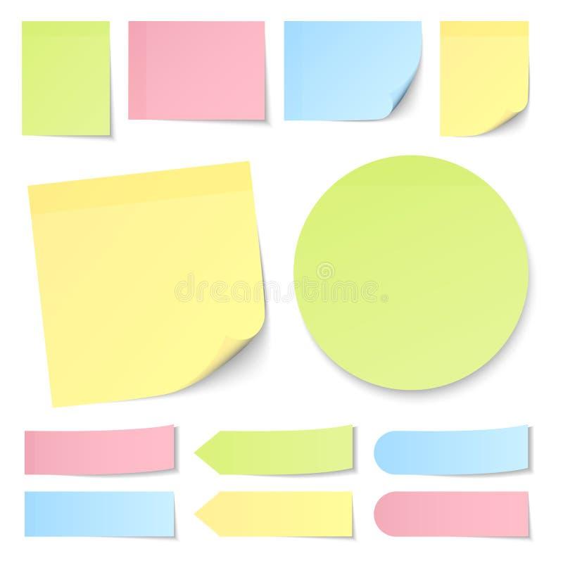 Le note appiccicose differenti messe ingialliscono verde blu e rosa illustrazione vettoriale
